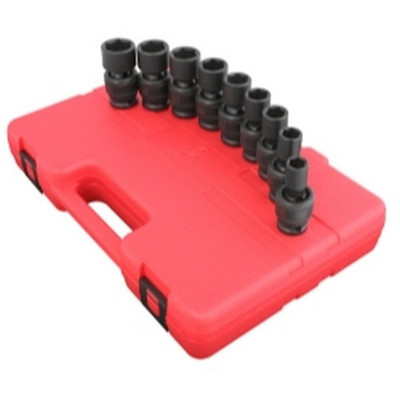 "Sunex Tools 2657 9 Piece 1/2"" Drive Universal Standard SAE Impact Socket Set"