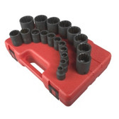 Sunex Tools 2819 19 Piece 1/2€ Drive 12 Point SAE Impact Socket Set