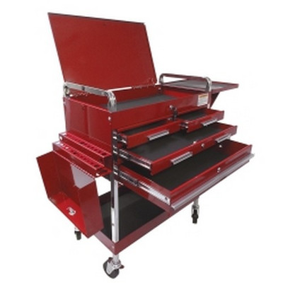 Sunex Tools 8013ADELUXE Deluxe Service Cart With Locking Top, 4 Drawers and Extra Storage - Red