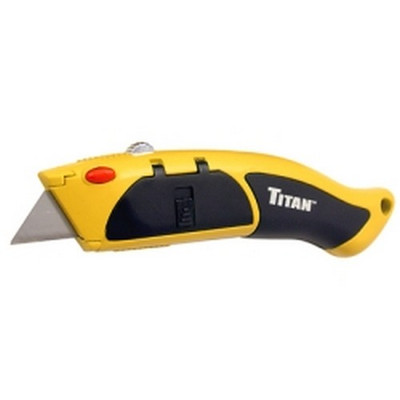 Titan Tools 11026 Auto-Loading Retractable Utility Knife, Heavy Duty Die Cast Body, TPR Comfort Grip, Yellow