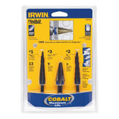 Irwin 10502CB Unibit Step Drill Bit Cobalt Set 3 pc
