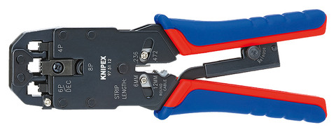 Knipex 975112 Crimping Pliers For Western Plugs With Multi-Component Grips 8 In