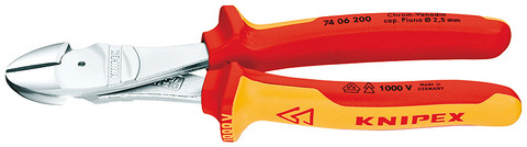 Knipex 7406180 High Leverage Diagonal Cutter Chrome Plated Insulted 1000V 7 1/4 In