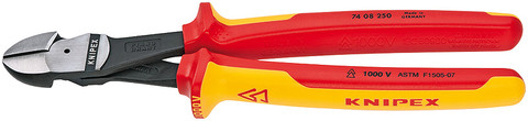 Knipex 7408250US High Leverage Diagonal Cutter Insulated, 1000V 10 In