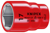 "Knipex 983711 Hexagon Socket With Internal Square 3/8""-1,000V Insulated 7/16"""