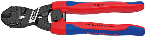 Knipex 7132200 Cobolt® Compact Bolt Cutter Black With Slim Multi-Component Grips 8 In