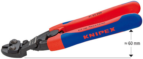 Knipex 7122200 Cobolt® Compact Bolt Cutter, Angled Black With Slim Multi-Component Grips 8 In