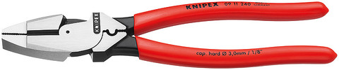 Knipex 0911240 Lineman'S Pliers New England Style With Non-Slip Plastic Coating 9 1/2 In