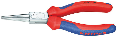 Knipex 3035160 Long Nose Pliers Black Atramentized With Multi-Component Grips 6 1/4 In