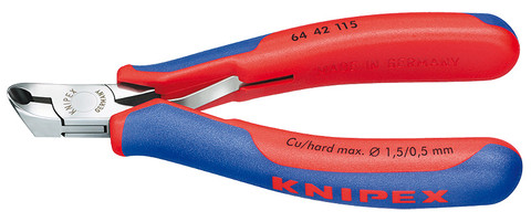Knipex 6442115 Electronics End Cutting Nipper With Multi-Component Grips 4 1/2 In