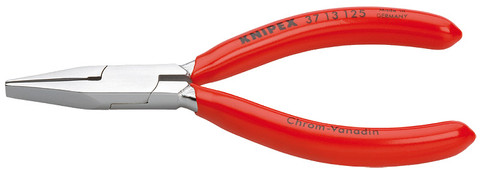Knipex 3713125 Flat Nose Pliers For Precision Mechanics Black Atramentized Plastic Coated 5 In