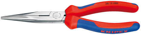 Knipex 2612200 Chain Nose Side Cutting Pliers (Stork Beak Pliers) With Multi-Component Grips 8""