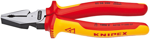 Knipex 0208225SBA High Leverage Combination Pliers Insulated With Dual Component Handles, 9 In