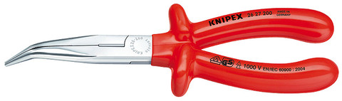 Knipex 2627200 Chain Nose Side Cutting Pliers (Stork Beak Pliers) 1000V Insulated, 8 In