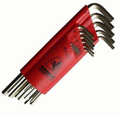 Bondhus 17195 Hex L-Wrench 15pc Set, BriteGuard Finish, Extra Long Length, 1.27-10mm