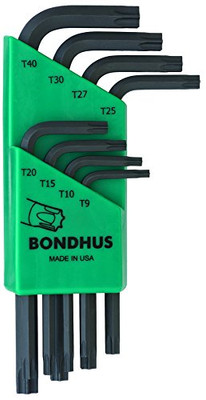 Bondhus 31734 Set of 8 Star L-Wrenches, Short Length, Sizes T9-T40
