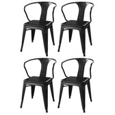 AmeriHome DCHAIRB Loft Matte Black Metal Dining Chairs - 4 Piece