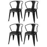 AmeriHome DCHAIRB Loft Matte Black Metal Dining Chairs - 4 Piece