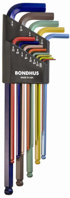 Bondhus 69637 Ball End L-Wrench Set with ColorGuard Finish with Extra Long Arm, 13 Piece