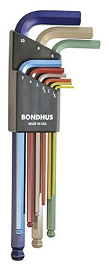 Bondhus 69499 Ball End L-Wrench Set with ColorGuard Finish, 9 Piece