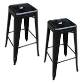 Amerihome BS030B2PK Loft Black Metal Bar Stool - 2 Piece