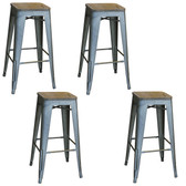 AmeriHome BS030SWTSET Loft Rustic Gunmetal Metal Bar Stool with Wood Seat- 4 Piece