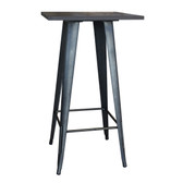 AmeriHome PUBTSWT Loft Rustic Gunmetal Metal Pub Table with Wood Top