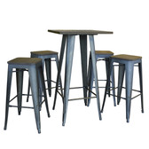 AmeriHome BSSET37 Loft Rustic Gunmetal Pub Set with Wood Tops - 5 Piece
