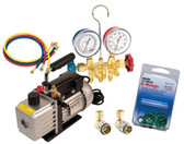 FJC 92821 Vacuum Pump & Gauge Set Assortment w/Hoses, O-Ring Kit, Couplers