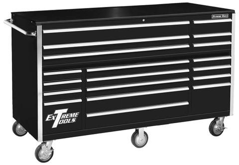 "Extreme Tools RX722519RCBK 72"" 19-Drawer Roller Cabinet, Black"