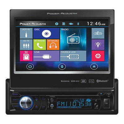"Power Acoustik PD724B S. Din 7"" Flip Out AM/FM/Cd/DVD/USB/Bluetooth"