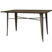 AmeriHome BTABLE30 Loft Rustic Gunmetal Metal Dining Table with Wood Top