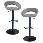 AmeriHome BSCGFSET Classic Charcoal Gray Fabric Bar Stool Set
