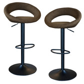 AmeriHome BSLTFSET Classic Latte Brown Fabric Bar Stool Set