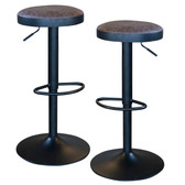AmeriHome BSBNLSET Classic Brown Faux Leather Bar Stool Set