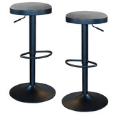 AmeriHome BSGYFSET Classic Charcoal Gray Fabric Bar Stool Set
