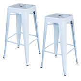 AmeriHome BS030W2PK Loft White 30 in. Metal Bar Stool 2 Piece
