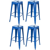AmeriHome BS030BLSET Loft Blue 30 in. Metal Bar Stool 4 Piece