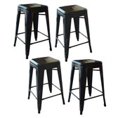 AmeriHome BS24BLKSET Loft Black 24 Inch Metal Bar Stool - 4 Piece