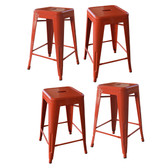 AmeriHome BS24ORNGSET Loft Orange 24 Inch Metal Bar Stool - 4 Piece