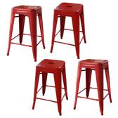 AmeriHome BS24REDSET Loft Red 24 Inch Metal Bar Stool - 4 Piece