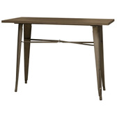 AmeriHome BTABLE40 Loft Rustic Gunmetal Metal Dining Table with Wood Top