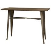 AmeriHome BTABLE40 Loft Rustic Gunmetal Metal Dining Table with Wood Top