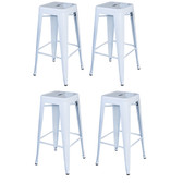 AmeriHome BS030WSET Loft White 30 in. Metal Bar Stool 4 Piece