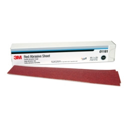 "3M 01181 Red Abrasive Hookit File Sheet, 80 Grade, 2-3/4"" x 16-1/2"", 25 Per Box"