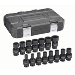 "Gearwrench 84918N 15 Piece 3/8"" Drive 6 Point Metric Universal Socket Set"