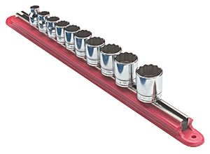 "VIM Tools MAGRAIL37R 3/8"" Magnetic Socket Rack, Bright Red"