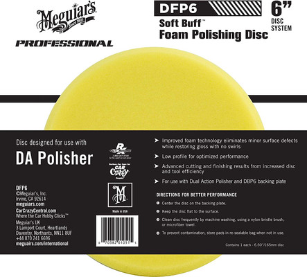 "Meguiars DFP6 6"" Soft Buff DA Foam Polishing Disc"