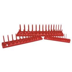 K Tool 72470 3 Piece SAE Socket Holder Set - Red