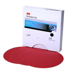 "3M 01117 Red Abrasive Stikit Disc, 6"", 40 Grit, 25 Per Box"